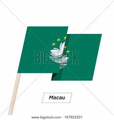 Macau Ribbon Waving Flag Isolated on White. Vector Illustration. Macau Flag with Sharp Corners