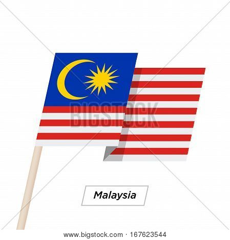 Malaysia Ribbon Waving Flag Isolated on White. Vector Illustration. Malaysia Flag with Sharp Corners