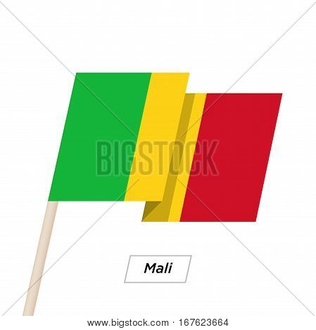 Mali Ribbon Waving Flag Isolated on White. Vector Illustration. Mali Flag with Sharp Corners