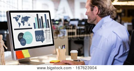 Computer graphic image of business presentation against side view of man working on computer