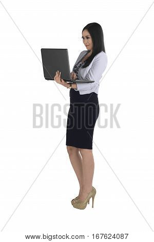 Beautiful Asian Business Woman Holding Laptop While Typing
