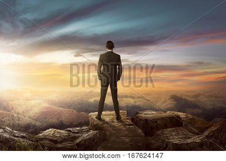 Rear View Of Asian Businessman On The Top Of The Hill Looking Wonderful Scenery