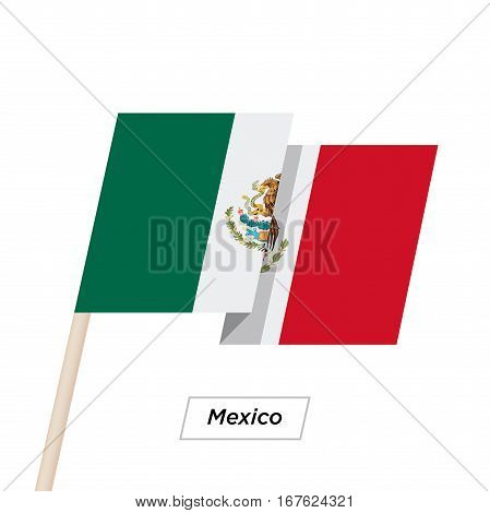 Mexico Ribbon Waving Flag Isolated on White. Vector Illustration. Mexico Flag with Sharp Corners