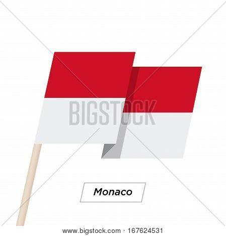 Monaco Ribbon Waving Flag Isolated on White. Vector Illustration. Monaco Flag with Sharp Corners