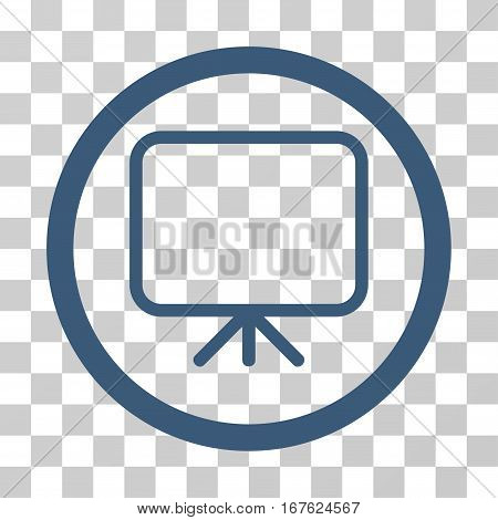 Presentation Screen rounded icon. Vector illustration style is flat iconic symbol inside a circle blue color transparent background. Designed for web and software interfaces.