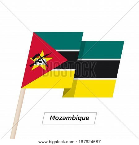 Mozambique Ribbon Waving Flag Isolated on White. Vector Illustration. Mozambique Flag with Sharp Corners