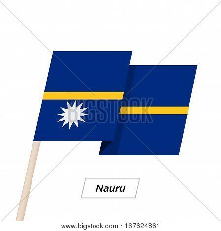 Nauru Ribbon Waving Flag Isolated on White. Vector Illustration. Nauru Flag with Sharp Corners