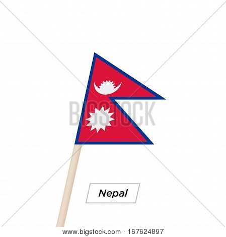 Nepal Ribbon Waving Flag Isolated on White. Vector Illustration. Nepal Flag with Sharp Corners