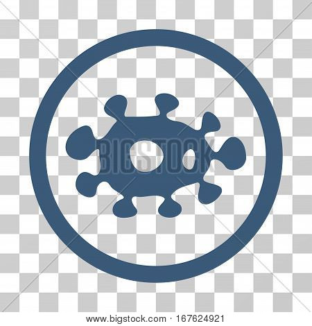 Virus rounded icon. Vector illustration style is flat iconic symbol inside a circle blue color transparent background. Designed for web and software interfaces.
