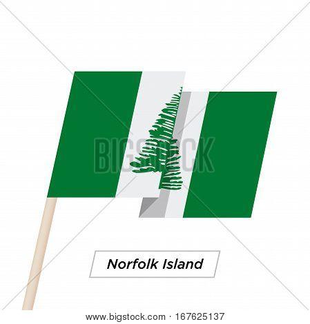 Norfolk Island Ribbon Waving Flag Isolated on White. Vector Illustration. Norfolk Island Flag with Sharp Corners