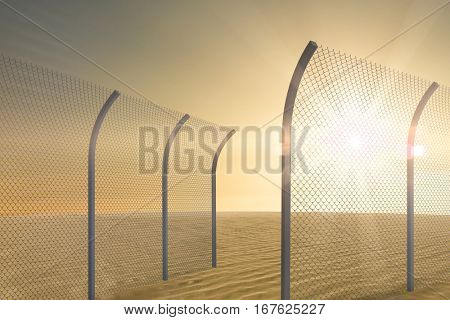 Bended chainlink fence against desert scene 3d