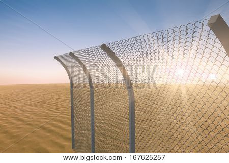 Chainlink fence by white background against desert scene 3d