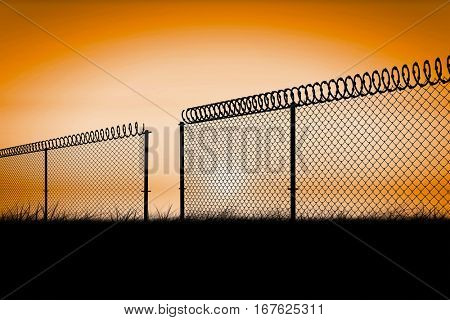 Chainlink fence against white background against sunrise 3d