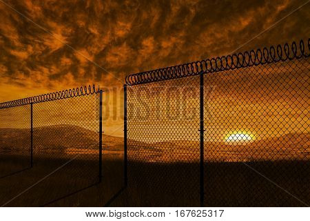 Chainlink fence against white background against beautiful african scene 3d