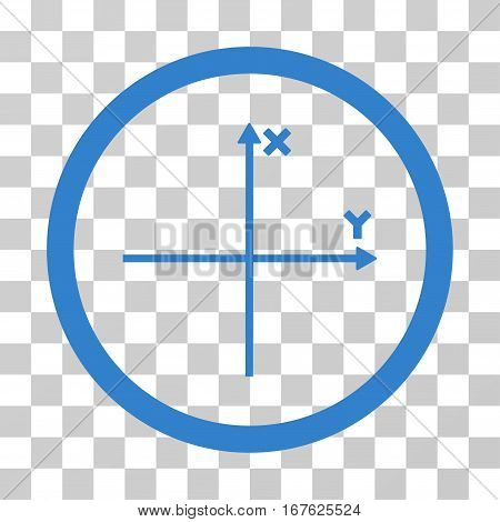 Coordinate Axis rounded icon. Vector illustration style is flat iconic symbol inside a circle cobalt color transparent background. Designed for web and software interfaces.