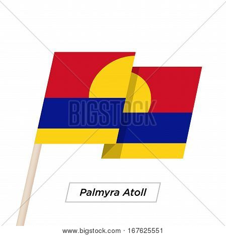 Palmyra Atoll Ribbon Waving Flag Isolated on White. Vector Illustration. Palmyra Atoll Flag with Sharp Corners