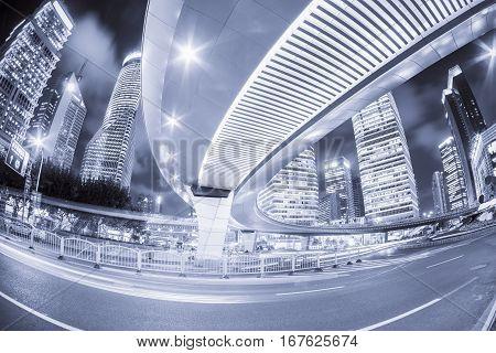 shanghai cityscape at night fisheye view blue tone