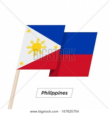 Philippines Ribbon Waving Flag Isolated on White. Vector Illustration. Philippines Flag with Sharp Corners