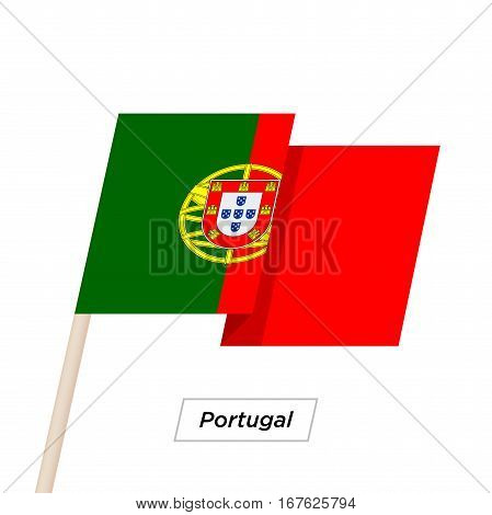 Portugal Ribbon Waving Flag Isolated on White. Vector Illustration. Portugal Flag with Sharp Corners