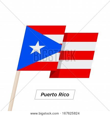 Puerto Rico Ribbon Waving Flag Isolated on White. Vector Illustration. Puerto Rico Flag with Sharp Corners