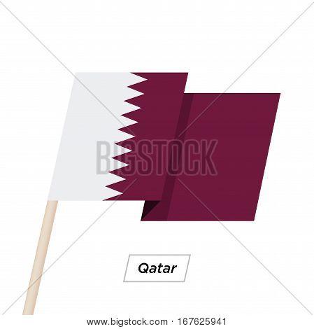 Qatar Ribbon Waving Flag Isolated on White. Vector Illustration. Qatar Flag with Sharp Corners