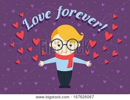Flat design vector illustration of boy or young man on violet background with hearts and text