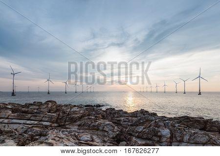 offshore wind farm in sunrise renewable energy