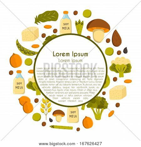 Vector illustration with cartoon source vegan protein background: broccoli chia seeds oats seeds chickpeas avocado tofu soy milk spinach. Vector cartoon healthy diet icons. Healthy food concept