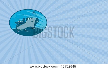 Business card showing Illustration of a container cargo freighter ship sailing on sea done in retro style set inside ellipse.