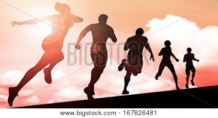 Athletes Running During Sunset with Silhouette Illustration 3D Illustration Render