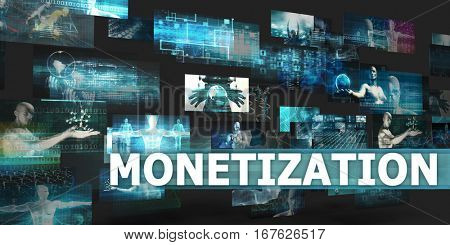 Monetization Presentation Background with Technology Abstract Art 3D Illustration Render