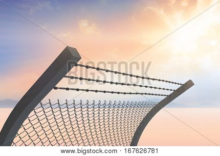 Bended barbed wire and chainlink fence against white background against desert landscape 3d
