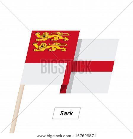 Sark Ribbon Waving Flag Isolated on White. Vector Illustration. Sark Flag with Sharp Corners