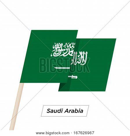 Saudi Arabia Ribbon Waving Flag Isolated on White. Vector Illustration. Saudi Arabia Flag with Sharp Corners