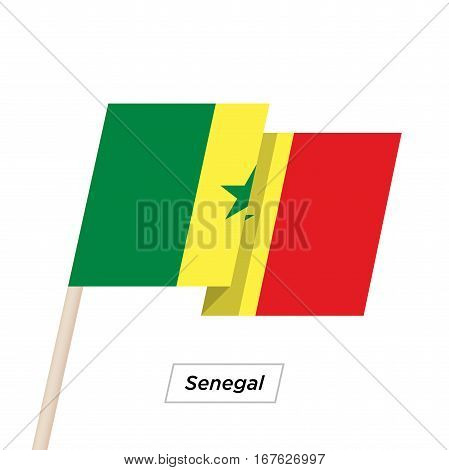 Senegal Ribbon Waving Flag Isolated on White. Vector Illustration. Senegal Flag with Sharp Corners