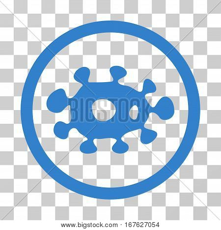 Virus rounded icon. Vector illustration style is flat iconic symbol inside a circle cobalt color transparent background. Designed for web and software interfaces.