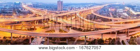 panoramic view of city interchange at night road junction of urban expressway in nanjing