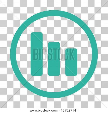 Bar Chart Decrease rounded icon. Vector illustration style is flat iconic symbol inside a circle cyan color transparent background. Designed for web and software interfaces.