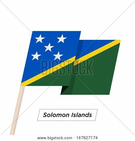 Solomon Islands Ribbon Waving Flag Isolated on White. Vector Illustration. Solomon Islands Flag with Sharp Corners