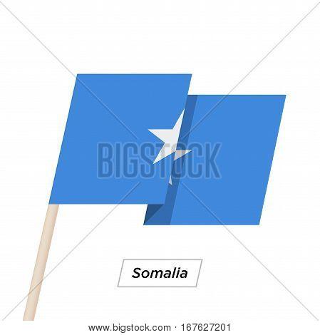 Somalia Ribbon Waving Flag Isolated on White. Vector Illustration. Somalia Flag with Sharp Corners
