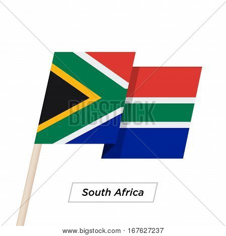 South Africa Ribbon Waving Flag Isolated on White. Vector Illustration. South Africa Flag with Sharp Corners