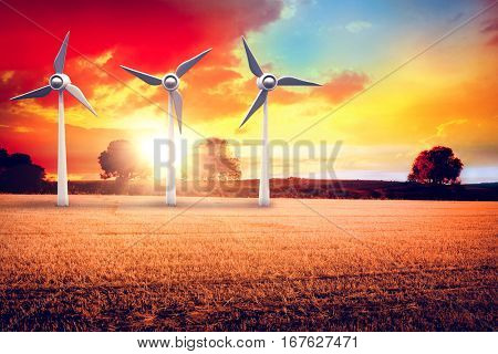Illustration of wind mills against countryside scene 3d