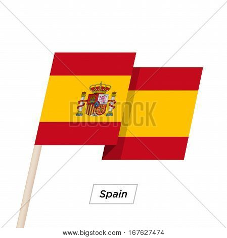 Spain Ribbon Waving Flag Isolated on White. Vector Illustration. Spain Flag with Sharp Corners
