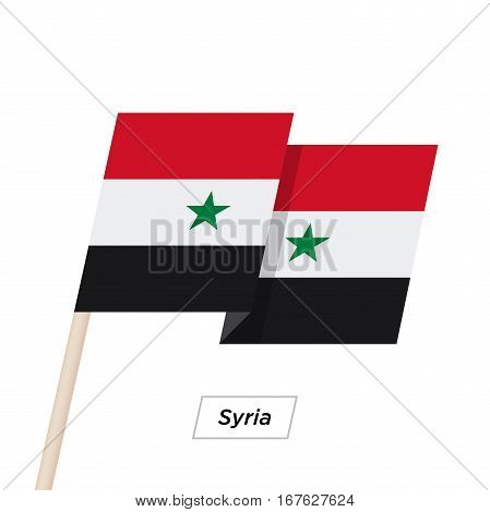 Syria Ribbon Waving Flag Isolated on White. Vector Illustration. Syria Flag with Sharp Corners