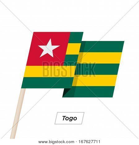 Togo Ribbon Waving Flag Isolated on White. Vector Illustration. Togo Flag with Sharp Corners
