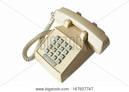 old telephone isolated on white with clipping path