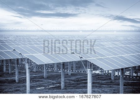 solar power plantlarge area photovoltaic panels in a dry season of wasteland