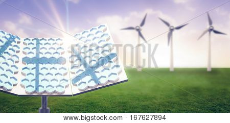 Modern solar panel with hexagon shape against sunset with clouds 3d