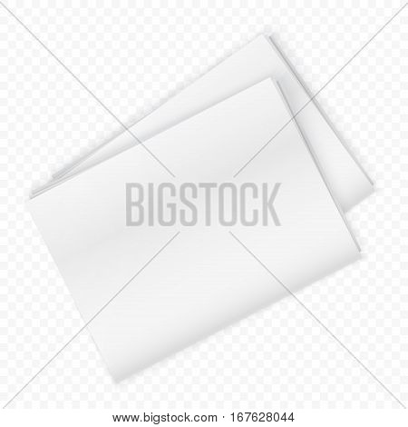 Blank newspaper mockup isolated on the transperant background. Vector illustration