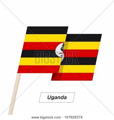 Uganda Ribbon Waving Flag Isolated on White. Vector Illustration. Uganda Flag with Sharp Corners